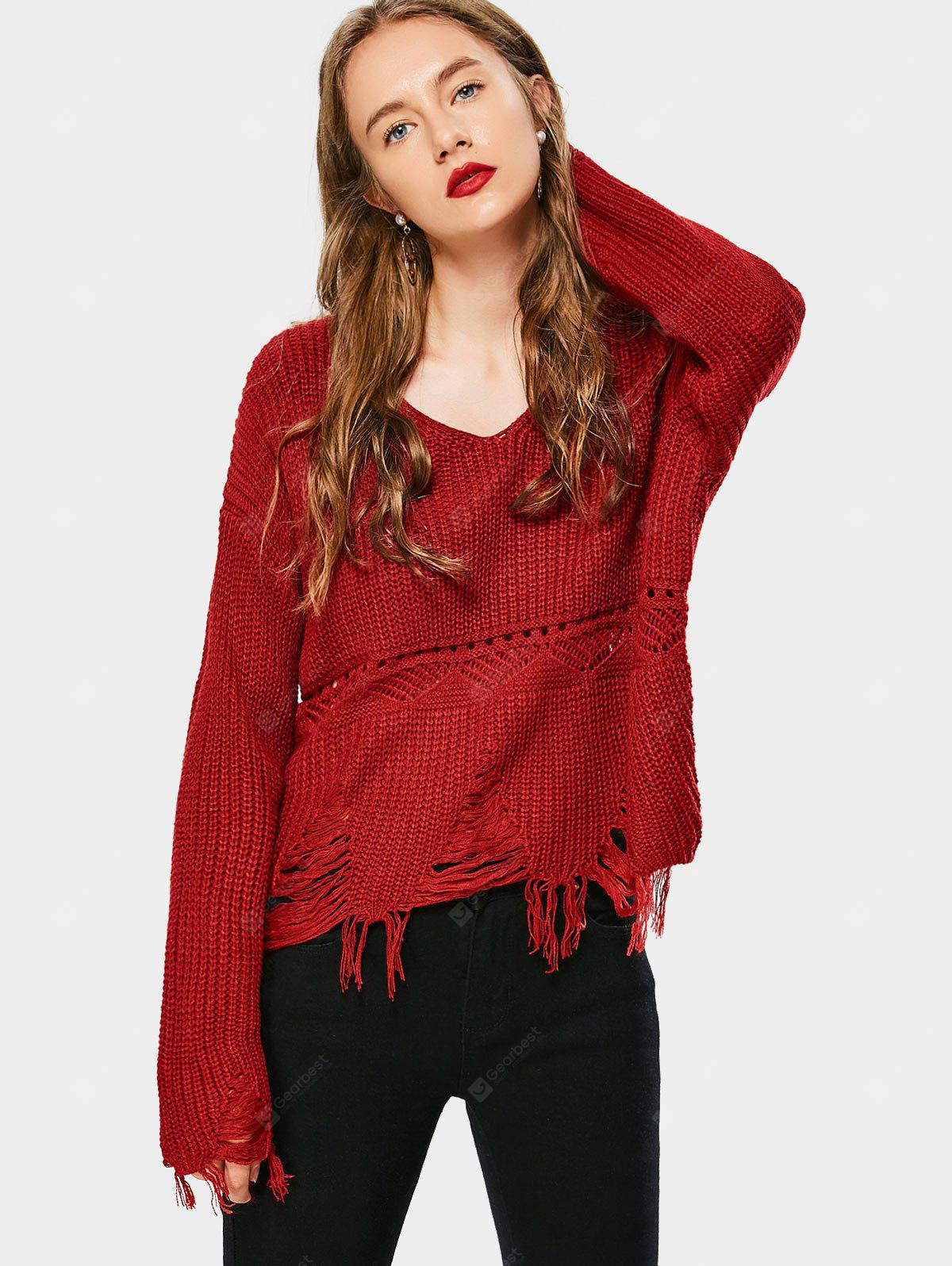 V Neck Ripped Tassels Sweater