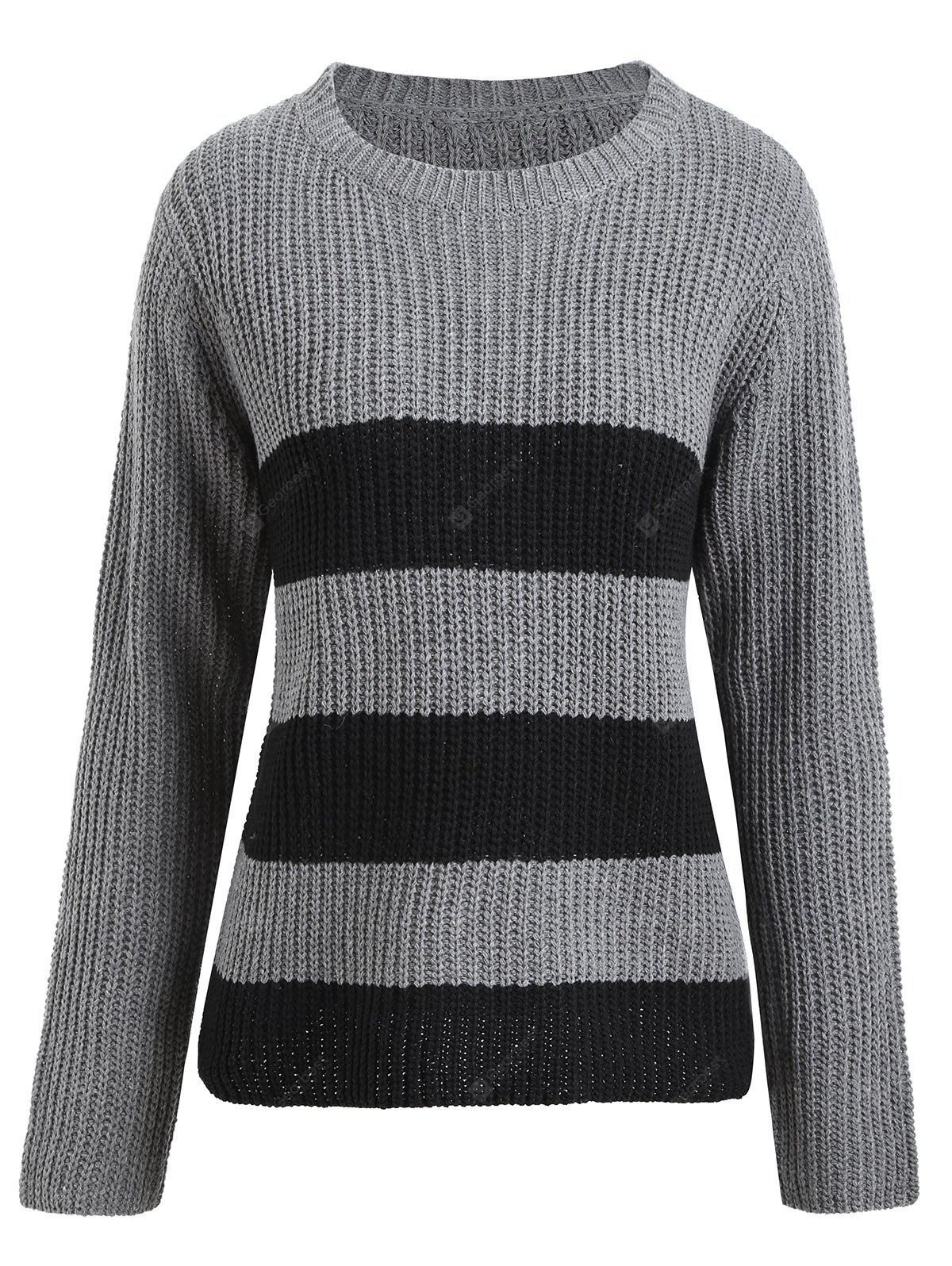 Plus Size Striped Ribbed Sweater