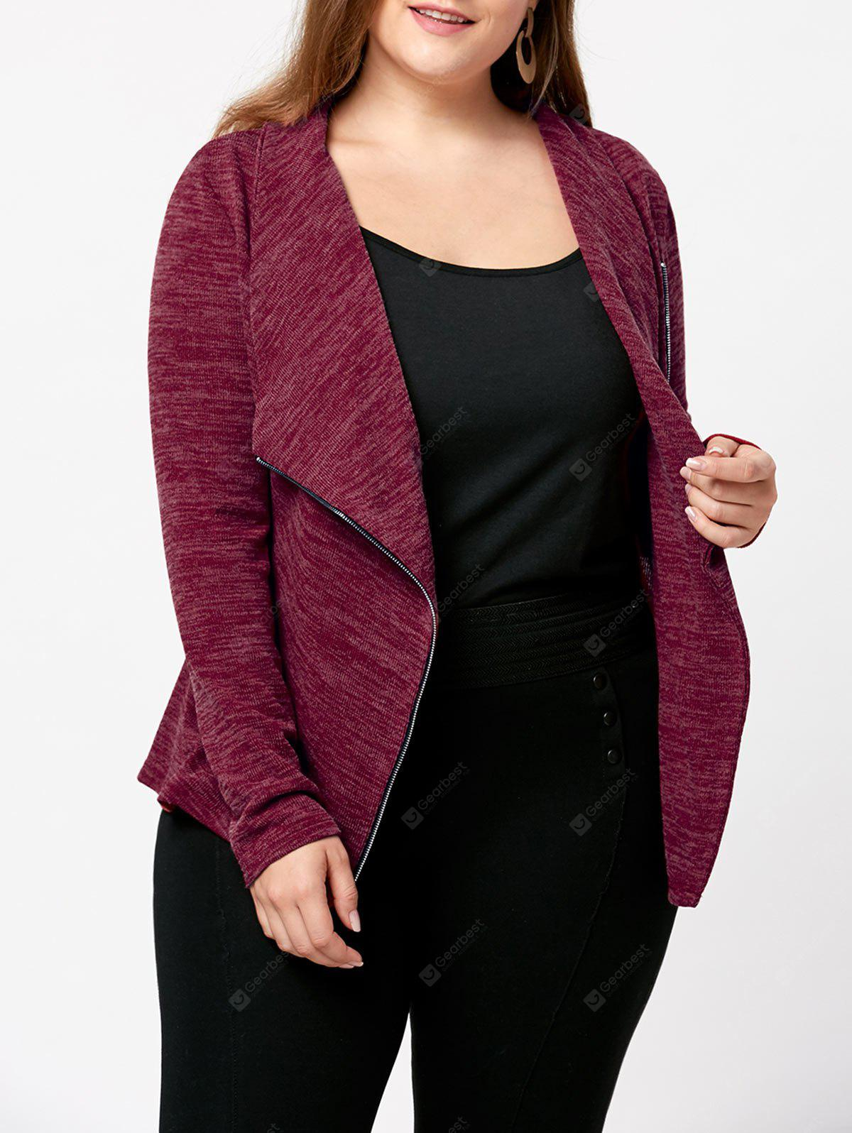 Plus Size Marled Zip Up Cardigan
