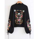 Mock Neck Floral Embroidered Flare Sleeve Sweater - BLACK