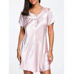 Satin Shift Pajama Dress - LIGHT PINK