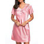 Satin Shift Pajama Dress - CANDY CORAL