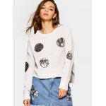 Round Sequin Embellished Knit Sweater - BEIGE