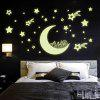 Stars Moon Night Sky Printed Wall Sticker - LUMINOUS GREEN