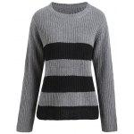 Plus Size Striped Ribbed Sweater - GRAY