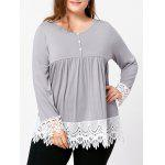 Plus Size Lace Trim Babydoll Top - LIGHT GRAY