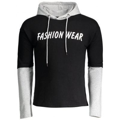 Buy BLACK Two Tone Graphic Mens Hoodie for $27.08 in GearBest store