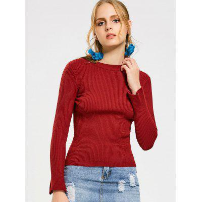 Flare Sleeve Ribbed Crew Neck Knitwear