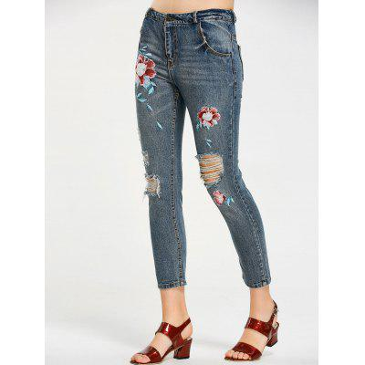 Buy DENIM BLUE L Destroyed Floral Embroidered Ninth Jeans for $33.11 in GearBest store