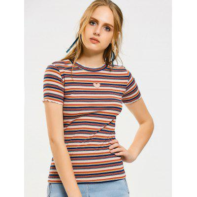 Stripes Heart Patches Ruffled T-shirt