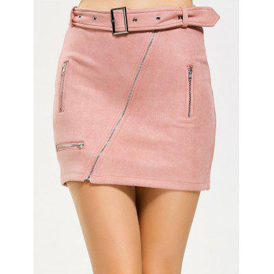 Fuax Suede Zippered Belted Mini Skirt
