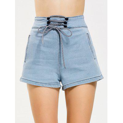 Lace Up High Waisted Denim Shorts