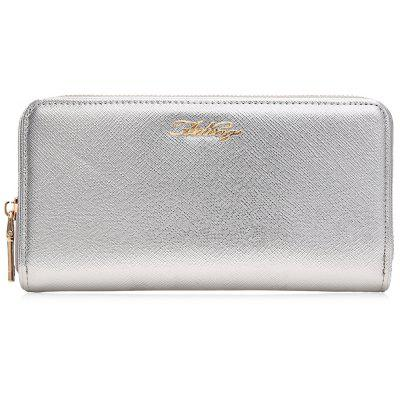 Faux Leather Letter Zipper Around Clutch Wallet