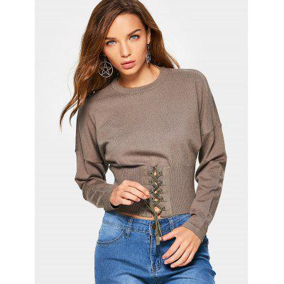Lace Up Crop Knitted Sweater