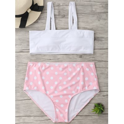 Buy WHITE 2XL Plus Size Polka Dot High Waisted Bikini for $19.66 in GearBest store