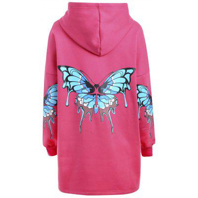 Plus Size Butterfly Zip Up Hooded Coat