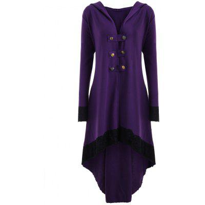 Lace-up Plus Size Hooded High Low Coat