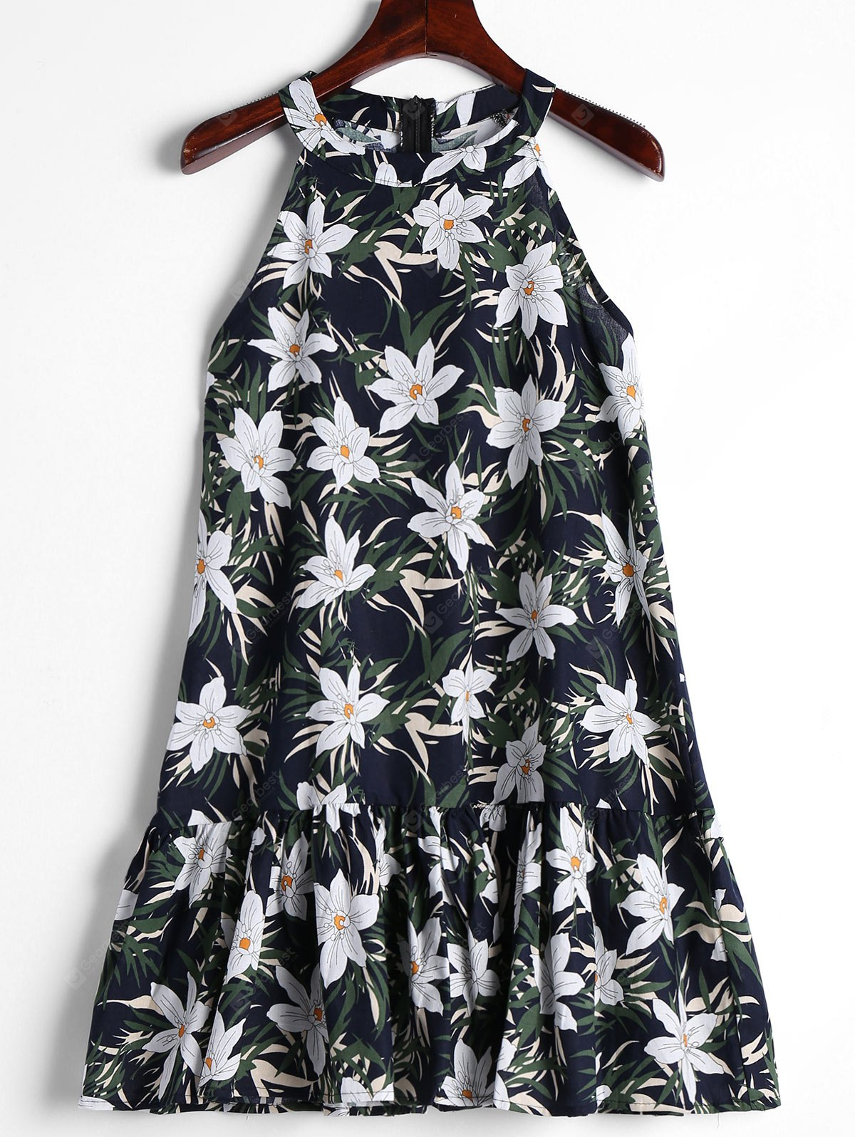 Floral Ruffles Trapeze Dress