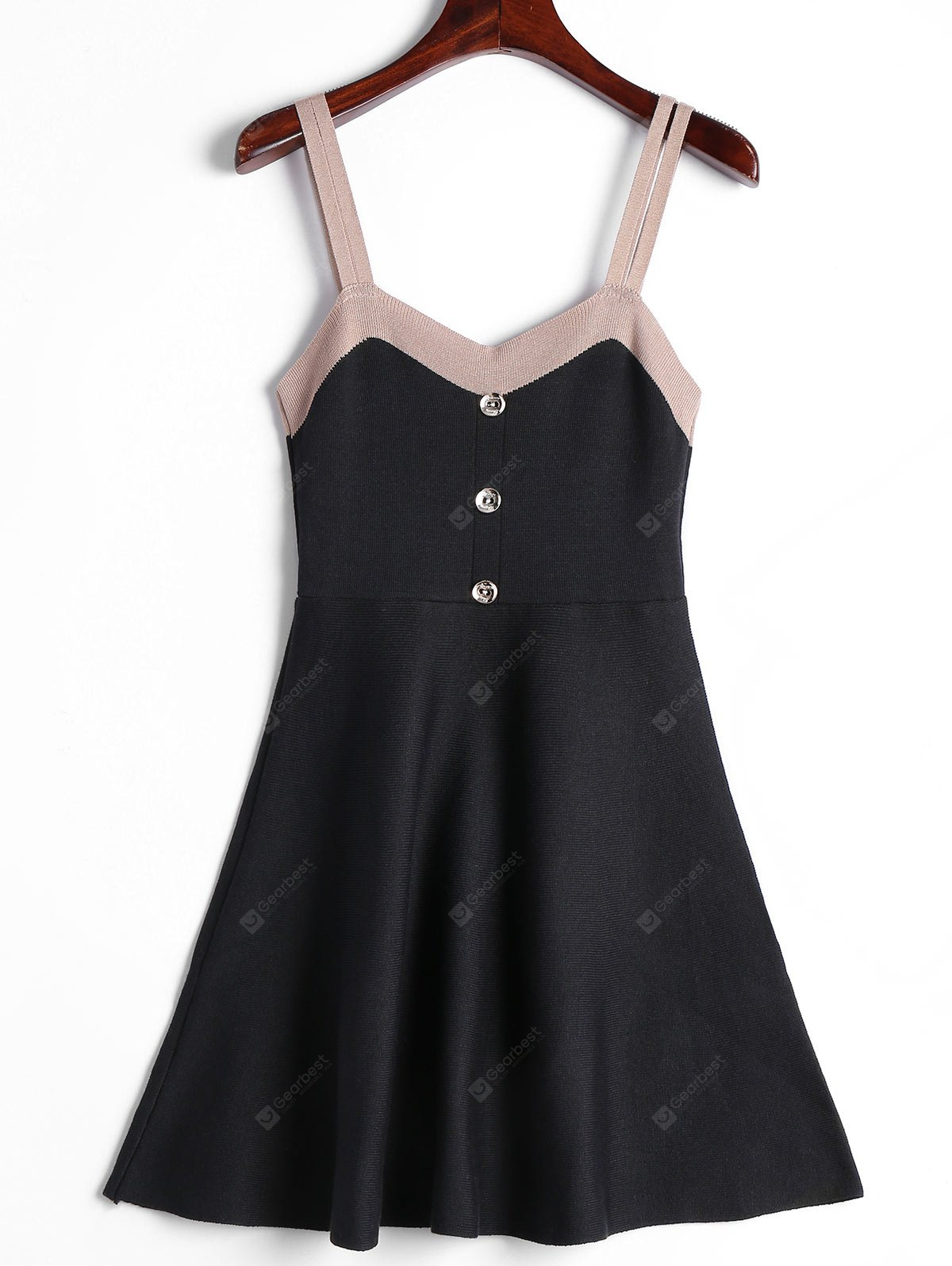 Double Straps Two Tone Knitted Dress