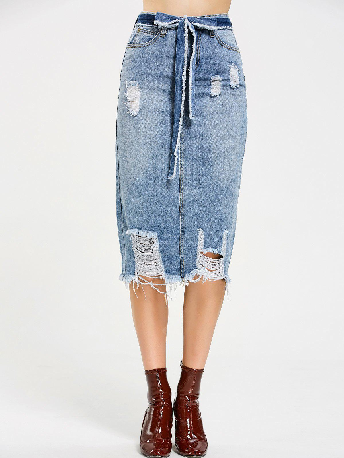 Destruído Belted Midi Denim Skirt