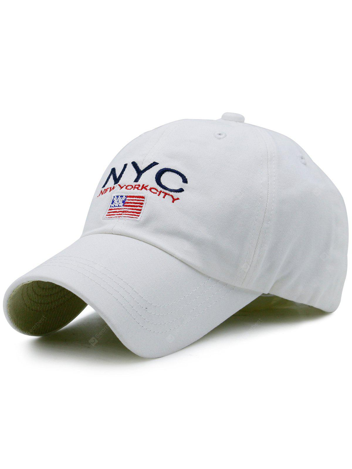 Flag and NYC Embroidery Baseball Hat
