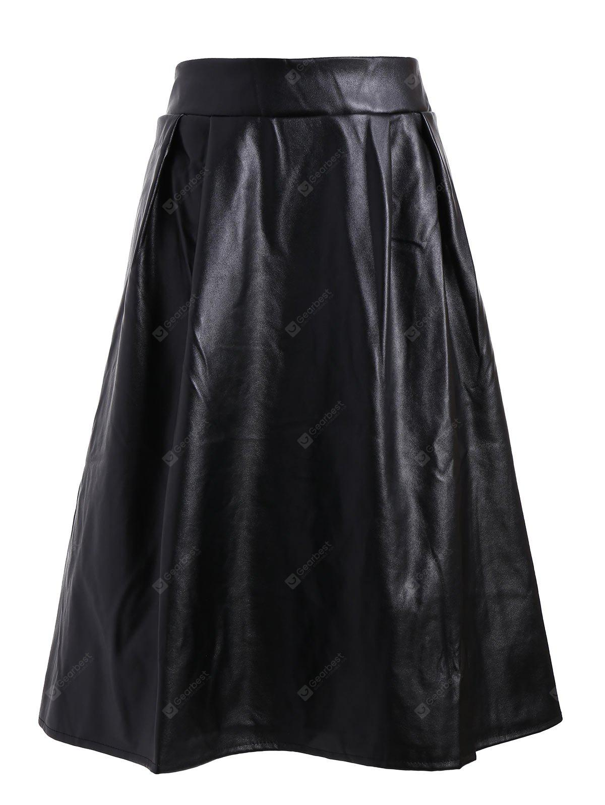 Plus Size Faux Leather Midi Skirt