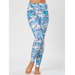 Shark Print Skinny Leggings - BLUE