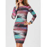 Long Sleeve Formal Print Bodycon Dress - COLORMIX
