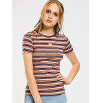 Stripes Heart Patches Ruffled T-shirt - LISTRAS