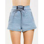 Lace Up High Waisted Denim Shorts - JEANS AZUL