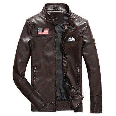 Buy BROWN 4XL Zip Up Patch Design Faux Leather Jacket for $68.39 in GearBest store