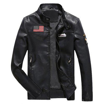 Buy BLACK XL Zip Up Patch Design Faux Leather Jacket for $68.39 in GearBest store