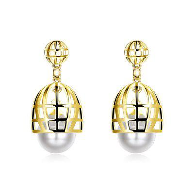 Alloy Faux Pearl Cage Drop Earrings