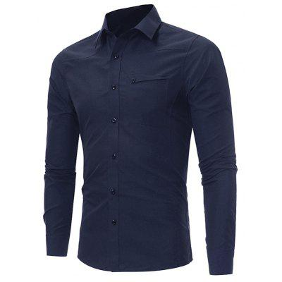 Buy CADETBLUE XL Turndown Collar Slim Fit Pocket Long Sleeve Shirt for $18.21 in GearBest store