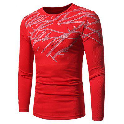 Buy RED M Crew Neck Printed Stretchy Openwork Long Sleeve T-shirt for $13.68 in GearBest store