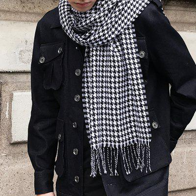 Houndstooth Pattern Fringed Wrap Scarf