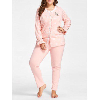 Buy ORANGEPINK Nursing Button Up Plus Size Pajamas Set for $39.02 in GearBest store