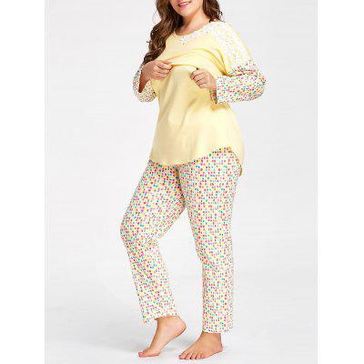 Buy LIGHT YELLOW Plus Size Dots Print Nursing Pajamas Set for $37.05 in GearBest store