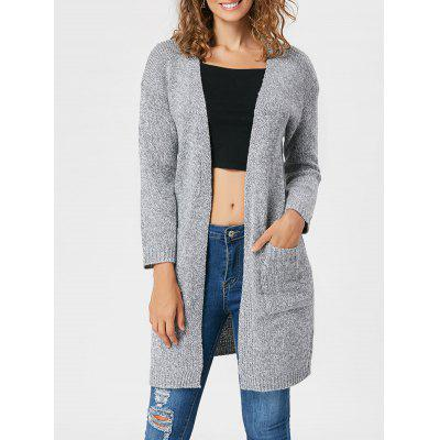 Buy LIGHT GRAY Pockets Open Front Knitted Cardigan for $22.99 in GearBest store