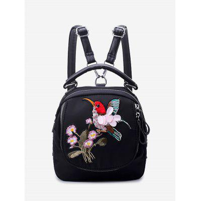 Buy BLACK Embroidery Nylon Zippers Backpack for $25.66 in GearBest store