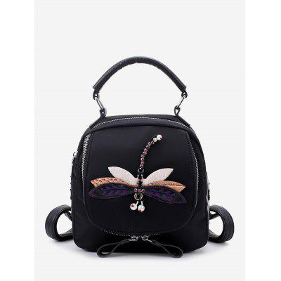 Buy BLACK AND PURPLE Embroidery Nylon Zippers Backpack for $25.66 in GearBest store