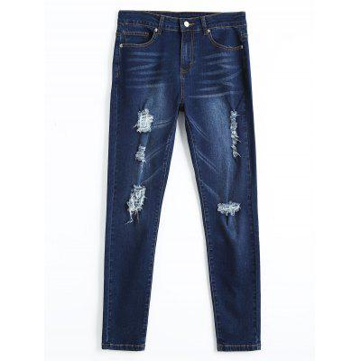 Buy DENIM BLUE S Distressed Skinny Pencil Jeans for $26.69 in GearBest store
