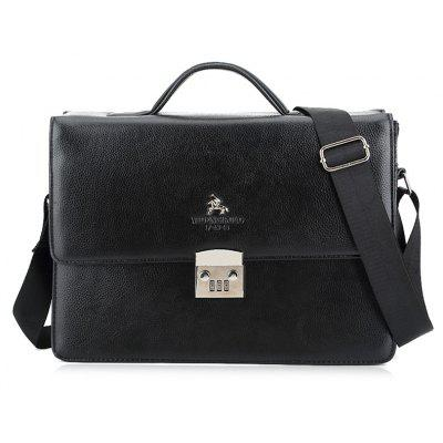 Faux Leather Metal Embellished Briefcase