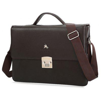 Metal Embellished Faux Leather Briefcase