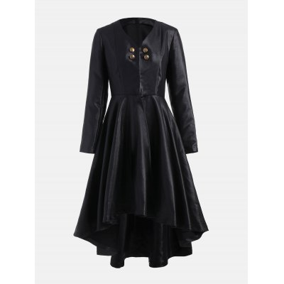 High Low Flared Coat with One Clasp