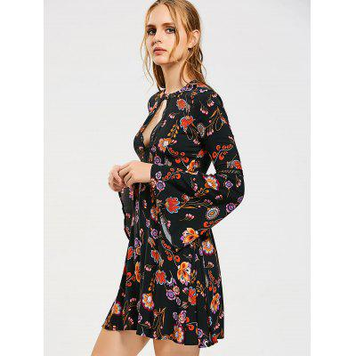 Floral Cut Out Flare Sleeve Mini DressLong Sleeve Dresses<br>Floral Cut Out Flare Sleeve Mini Dress<br><br>Dresses Length: Mini<br>Material: Cotton, Polyester<br>Neckline: Round Collar<br>Occasion: Casual , Day, Going Out<br>Package Contents: 1 x Dress<br>Pattern Type: Floral<br>Season: Fall, Spring<br>Silhouette: A-Line<br>Sleeve Length: Long Sleeves<br>Style: Brief<br>Weight: 0.2900kg<br>With Belt: No