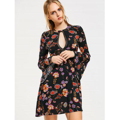 Floral Cut Out Flare Sleeve Mini Dress
