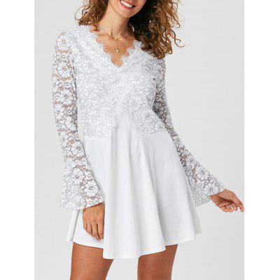 Lace Trim Flare Sleeve Mini Dress