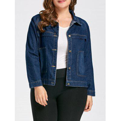Plus Size Button Up Boyfriend Denim Jacket