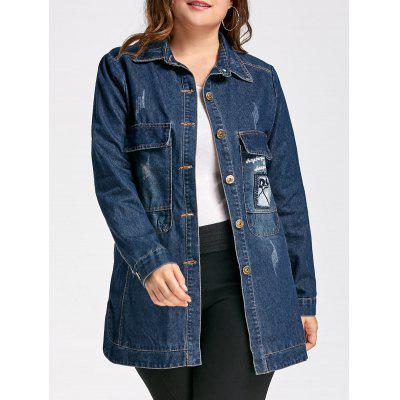 Plus Size Destroyed Wash Long Patched Denim Jacket